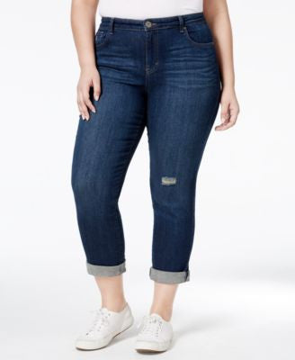 Style & Co. Plus Size Distressed Field Wash Boyfriend Jeans, Only at Vogily