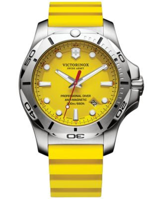 Victorinox Swiss Army Men's Swiss I.N.O.X. Professional Diver Yellow Rubber Strap Watch 45mm 241735.