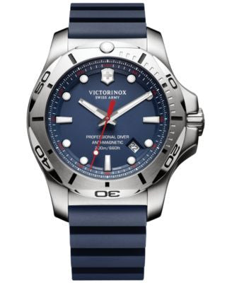 Victorinox Swiss Army Men's Swiss I.N.O.X. Professional Diver Blue Rubber Strap Watch 45mm 241734.1