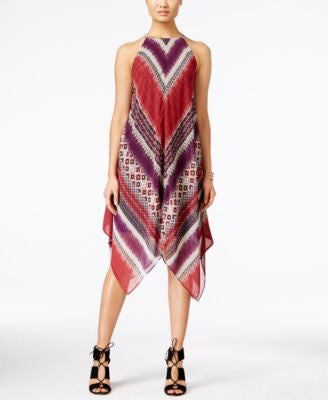 INC International Concepts Petite Printed Handkerchief-Hem Halter Dress, Only at Vogily