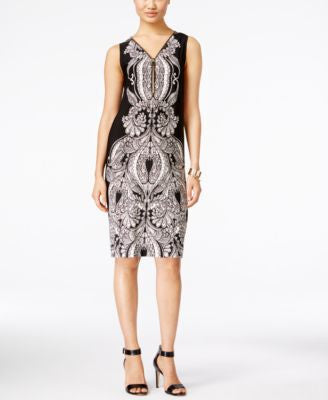 INC International Concepts Petite Printed Sheath Dress, Only at Vogily