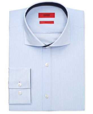 HUGO Men's Slim-Fit Light Blue Striped Dress Shirt
