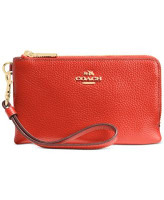 COACH Double Corner Zip in Polished Pebble Leather
