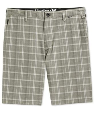 Hurley Men's Davis Flat-Front Plaid Shorts