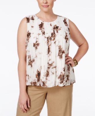 Calvin Klein Plus Size Printed Chiffon Pleat-Detail Top