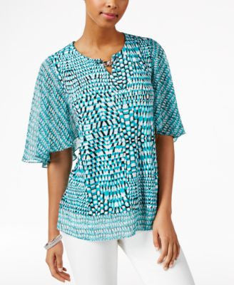 JM Collection Printed Flutter-Sleeve Top, Only at Vogily