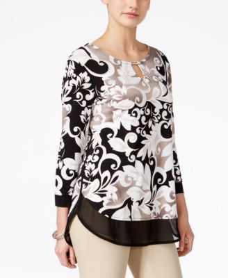 JM Collection Petite Layered-Look Three-Quarter-Sleeve Printed Blouse, Only at Vogily
