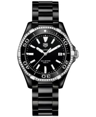 TAG Heuer Women's Swiss Aquaracer Diamond (1/4 ct. t.w.) Black Ceramic Bracelet Watch 35mm WAY1395.B