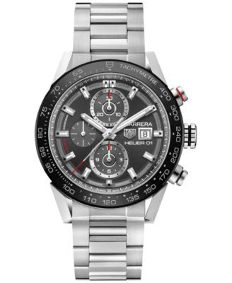 TAG Heuer Men's Swiss Automatic Chronograph Carrera Stainless Steel Bracelet Watch 43mm CAR201W.BA07