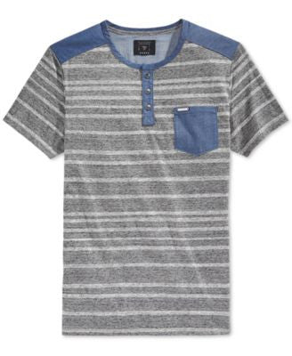 GUESS Men's Stripe Henley T-Shirt