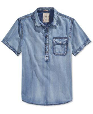 GUESS Men's Short-Sleeve Pop-Over Shirt