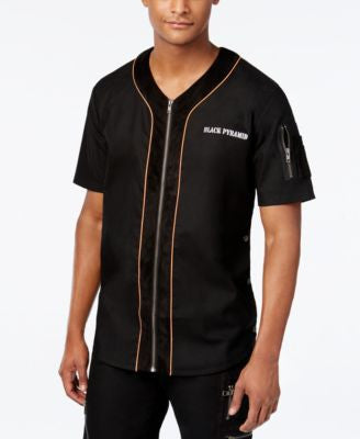 Black Pyramid Men's Zip-Up Baseball Jersey Shirt
