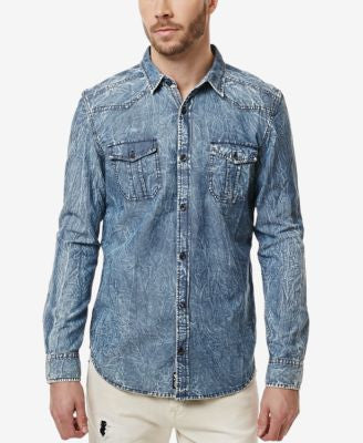 Buffalo David Bitton Men's Salar Chambray Long-Sleeve Shirt