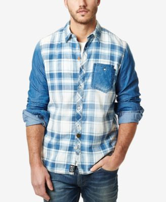 Buffalo David Bitton Men's Sipalto Denim Plaid Long-Sleeve Shirt