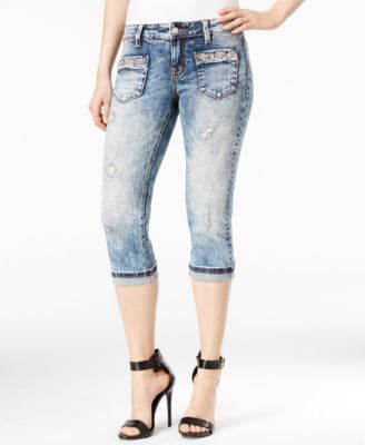 Miss Me Stonewashed Beaded Capri Jeans