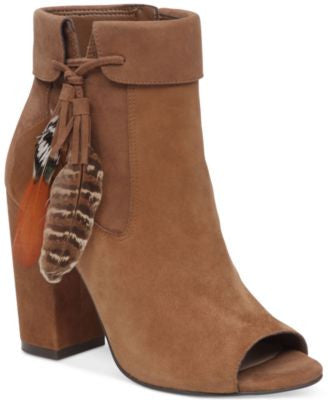Jessica Simpson Kailey Feather-Detail Peep-Toe Block-Heel Booties