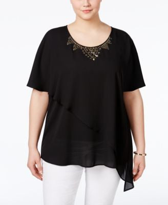 NY Collection Plus Size Layered-Chiffon Studded Blouse