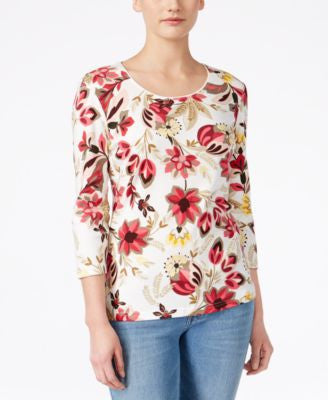 Karen Scott Floral-Print Three-Quarter-Sleeve Top, Only at Vogily