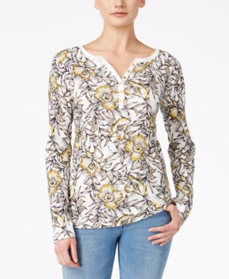 Karen Scott Floral-Print Henley Top, Only at Vogily