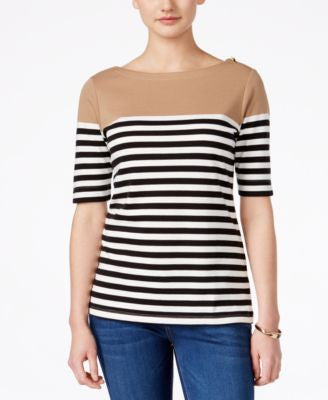 Karen Scott Striped Elbow-Sleeve Top, Only at Vogily