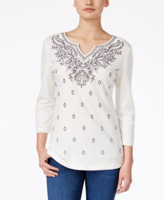 Karen Scott Embroidered Three-Quarter-Sleeve Top, Only at Vogily