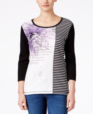 Karen Scott Mixed-Print Three-Quarter-Sleeve Top, Only at Vogily