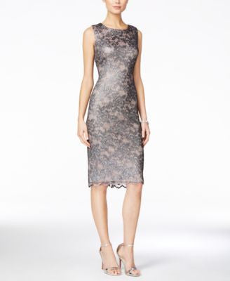 Ivanka Trump Metallic Lace Sheath Dress