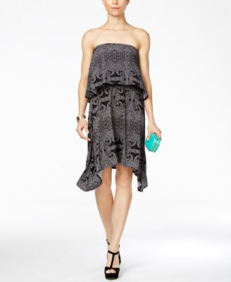 BCBGeneration Strapless Printed Popover Dress