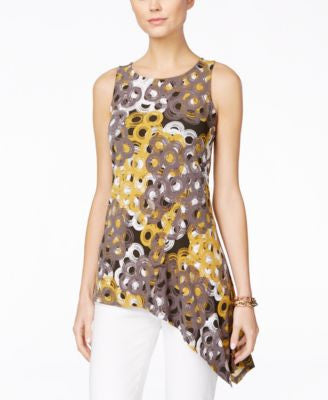 Alfani Petite Printed Asymmetrical-Hem Sleeveless Top, Only at Vogily