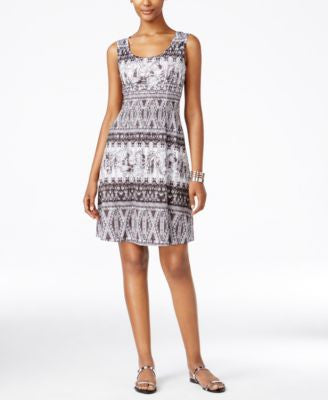 Style & Co. Petite Printed Fit & Flare Dress, Only at Vogily