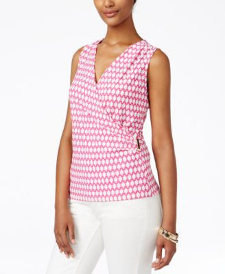 Charter Club Petite Geo-Print Crossover Wrap Top, Only at Vogily