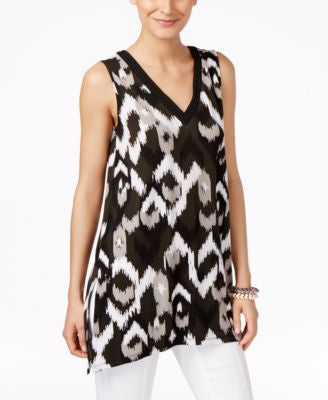 Alfani Petite Printed Sleeveless Handkerchief-Hem Top, Only at Vogily