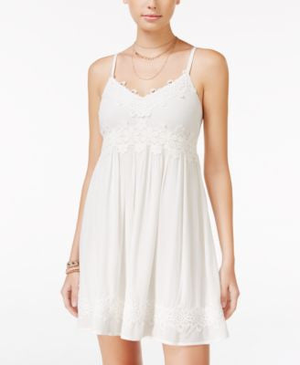 American Rag Crochet-Trim Crisscross-Strap Dress, Only at Vogily