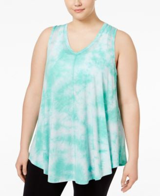 Calvin Klein Performance Plus Size Tie-Dyed Relaxed-Fit Tank Top