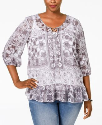 Style & Co. Plus Size Sheer Printed Peasant Top