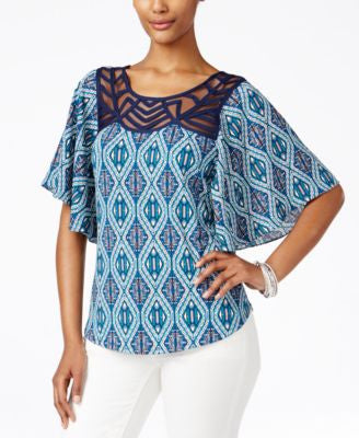 NY Collection Petite Printed Flutter-Sleeve Top