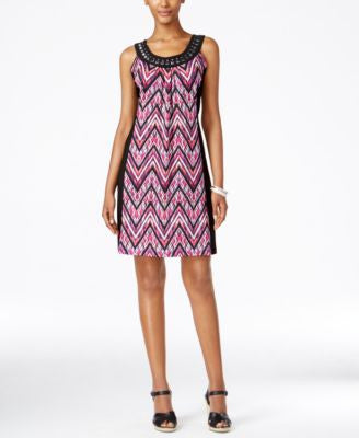 NY Collection Petite Printed Embellished Shift Dress