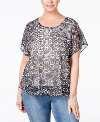 Style & Co. Plus Size Flutter-Sleeve Printed Embellished Blouse, Only at Vogily