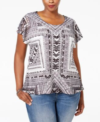 Style & Co. Plus Size Cap-Sleeve Crocheted-Overlay Blouse, Only at Vogily