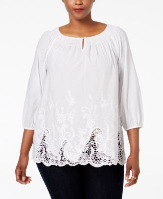 Charter Club Plus Size Embroidered-Hem Tunic, Only at Vogily