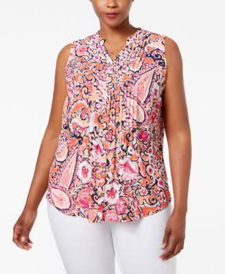Charter Club Plus Size Paisley-Print Pintucked Blouse, Only at Vogily
