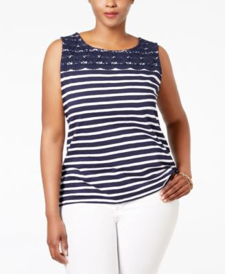 Charter Club Plus Size Striped Crocheted-Yoke Top, Only at Vogily