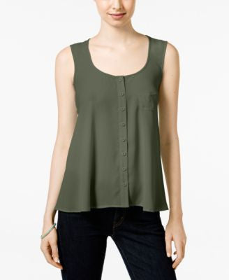 Style & Co. Petite Button-Front Tank, Only at Vogily