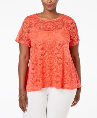 Charter Club Plus Size Lace Swing Top, Only at Vogily