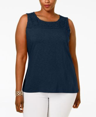Charter Club Plus Size Crocheted-Yoke Top, Only at Vogily