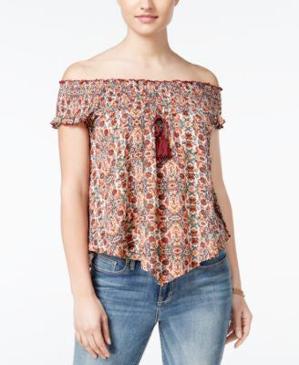 American Rag Printed Off-The-Shoulder Top, Only at Vogily