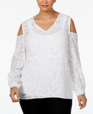 Alfani Plus Size Jacquard Cold-Shoulder Blouse, Only at Vogily