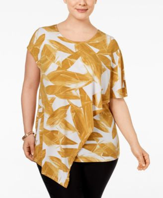 Alfani Plus Size Printed Asymmetric Top, Only at Vogily