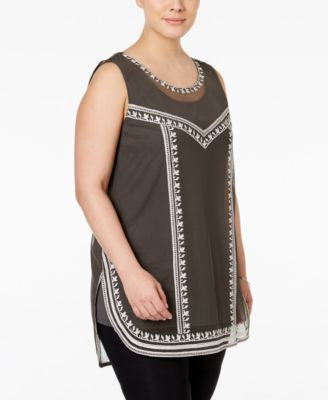 Alfani Plus Size Embroidered Tank Top, Only at Vogily