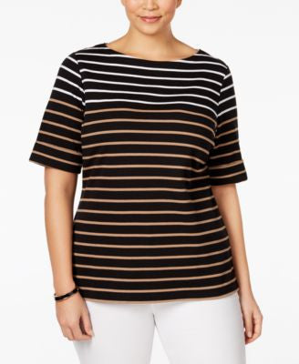 Karen Scott Plus Size Arielle Striped Top, Only at Vogily
